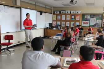 A social studies class at East Hartford Middle School