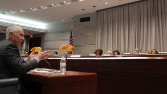 Board of Regents President Mark Ojakian addresses the legislature's Appropriations Committee.