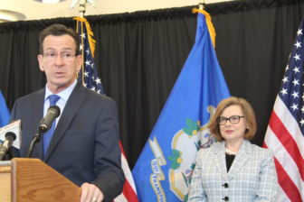 Gov. Dannel P. Malloy with his education commissioner, Dianna Wentzell