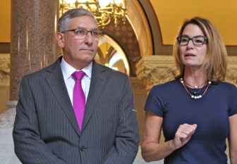 Sen. Republican Leader Len Fasano and House Republican Leader Themis Klarides react to the revenue estimates.