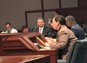 DCF Commissioner Joette Katz (front) addresses members of the Committee on Children.