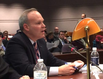 Scott A. Jordan, UConn's chief financial officer, testifies before the Appropriations Committee.