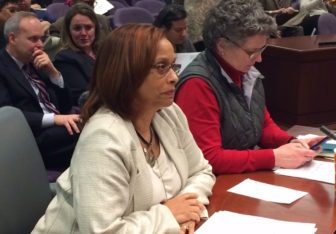 Rep. Toni Walker, left, and Sen. Beth Bye, co-chairs of the Appropriations Committee, prepare to take a vote on a labor contract with the UConn Professional Employees Association.