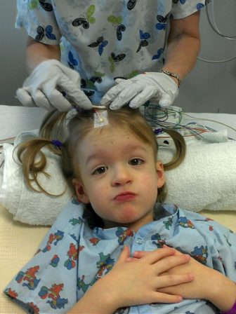 West Ann Tarricone of North Windham, who has hundreds of seizures per day.