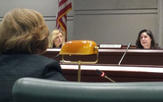 Sen. Dante Bartolomeo, right, questions education Commissioner Dianna Wentzell.
