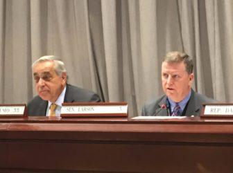 Sen. Tony Guglielmo, R-Stafford, left, and Sen. Timothy Larson, D-East Hartford, right.