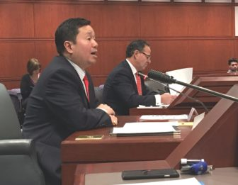UConn Provost Mun Choi testifies before the Higher Education Committee Tuesday.