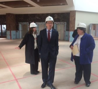 Gov. Dannel P. Malloy tours Connecticut River Plaza with Commissioner Melody Currey, right, and Erin Choquette of DAS.