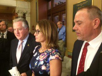 House Speaker Brendan Sharkey, House Minority Leader Themis Klarides and House Majority Leader Joe Aresimowicz talk to reporters shortly before the House convened.