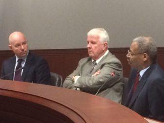 Michael P. Lawlor, John Santa and Sen. Eric Coleman talk about bail reform.