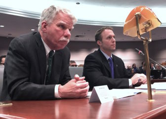 Chief State's Attorney Kevin Kane, left, and Farmington Police Chief Paul Melanson, right, testify.