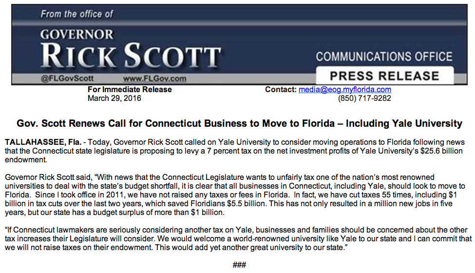 A screen grab of the Florida governor's press release.
