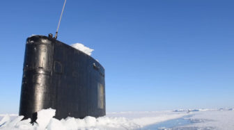 The USS Hartford just after surfacing above the Arctic Circle.
