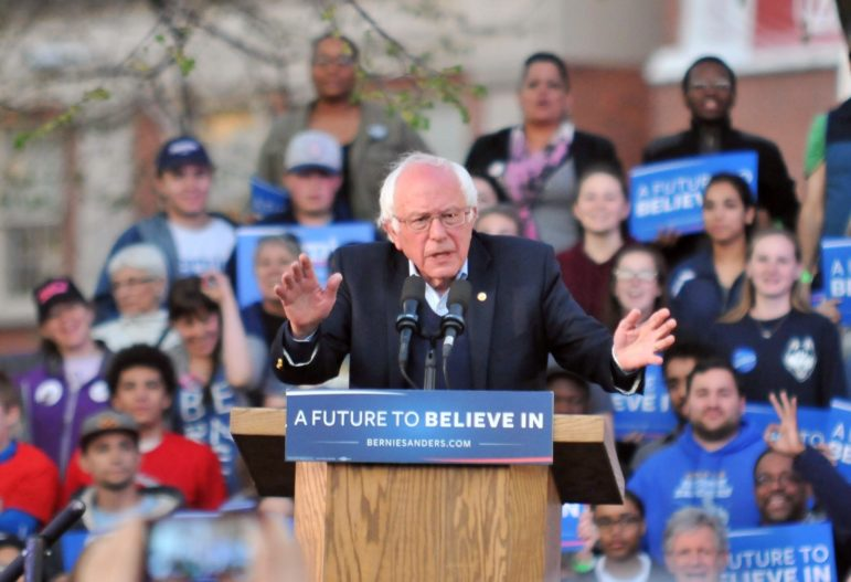 Democratic presidential candidate Bernie Sanders speaks to supporters on the New Haven Green Sunday night.