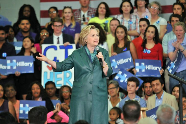 Democratic presidential candidate Hillary Clinton speaks during a rally at the University of Bridgeport on Sunday.