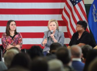 FFrom left to right: Erica Smegielski, daughter of slain Sandy Hook Elementary School Principal Dawn Hochsprung; Hillary Clinton; and gun control activist Kim Washington at a Clinton campaign gun forum in Hartford in April.