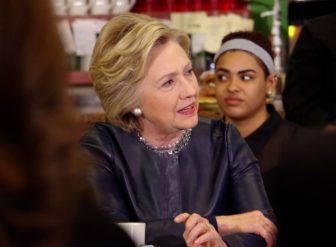 Hillary Clinton at the Orangeside restaurant in New Haven Saturday