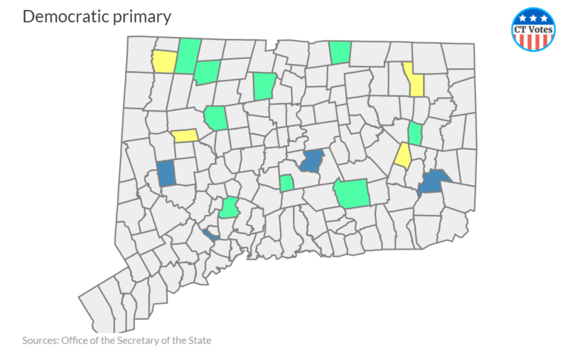 Democratic primary results in Connecticut, town by town