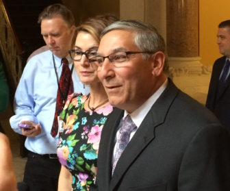 House Minority Leader Themis Klarides and Senate Minority Leader Len Fasano react to the Democrats' budget plan.