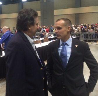 Trump's manager, Corey Lewandoski, right, with Joe Visconti, a Connecticut volunteer.