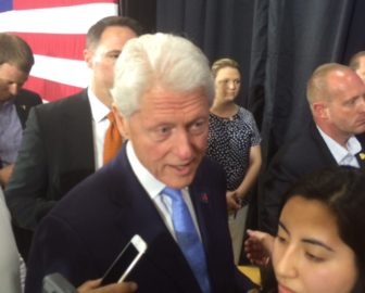 Bill Clinton, after a campaign stop in Hartford, says Sanders' role in the campaign has been positive.