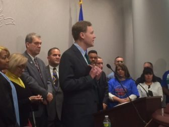 Rep. Matt Ritter, D-Hartford, speaks at a press conference with union leaders, council members and legislators.