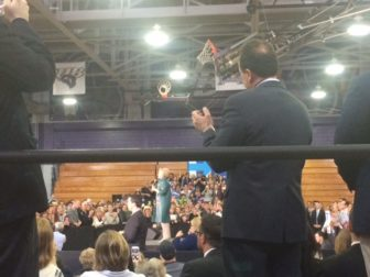 Mayor Joe Ganim was the sidelines, but he got a selfie with the candidate in private.