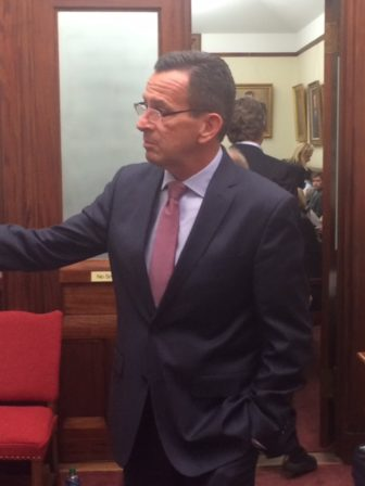 Gov. Dannel P. Malloy was a surprise visitor to the Senate Democratic caucus room Thursday night.