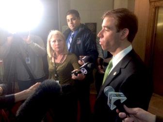 Hartford Mayor Luke Bronin faces the press Thursday.