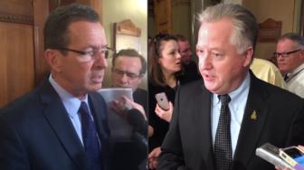 Gov. Dannel P. Malloy and House Speaker Brendan Sharkey