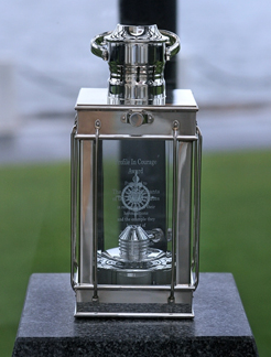 The award is a sterling silver lantern produced by Tiffany and modeled after those found on the U.S.S. Constitution