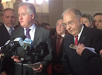 House Speaker J. Brendan Sharkey and Senate President Pro Tem Martin Looney discuss the Democrats' budget proposal.
