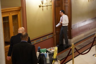 The governor's chief of staff, Brian Durand, heads to his office for bad news from the Senate.