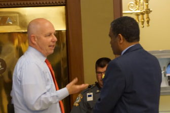 Michael P. Lawlor, the criminal justice advisor to the governor, lobbying outside the House.