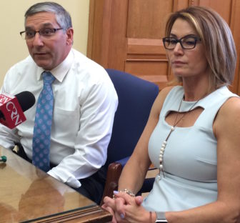 Senate Minority Leader Len Fasano and House Minority Leader Themis Klarides.