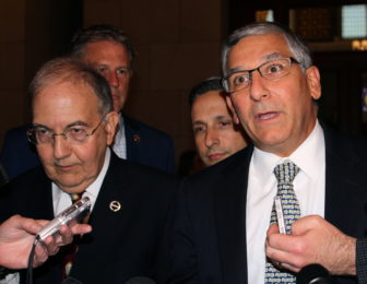 Senate President Pro Tem Martin M. Looney, left, and Republican Leader Len Fasano in a file photo from the 2016 session.