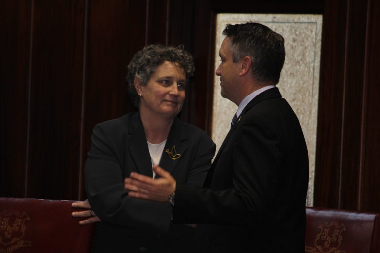 Senators Beth Bye and Rob Kane, the majority and minority leader of the legislature's Appropriations Committee