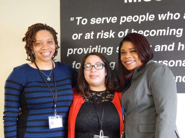 Pajo's support team. From left: case manager Ann-Marie White and patient navigators Alyssa Ekstein, and Takisha Highsmith