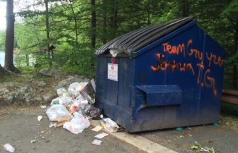 A dumpster at Bigelow Hollow State Park in Union