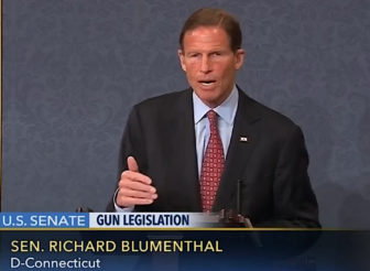 Sen. Richard Blumenthal urges the Senate to support expanding background checks Monday.