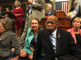 John Lewis, center, and John Larson, rear, organized a sit-in. At left, Elizabeth Esty.