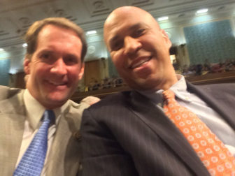 Rep. Jim Himes, D-4th District, who rebellion against a moment of silence in the House for the Orlando victims helped inspire the sit-in, and Sen. Cory Booker of New Jersey.