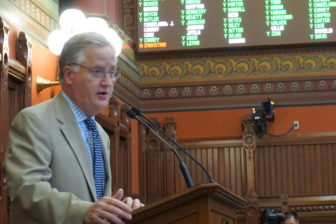 House Speaker J. Brendan Sharkey as the House votes for the first time to override a veto by Gov. Dannel P. Malloy.