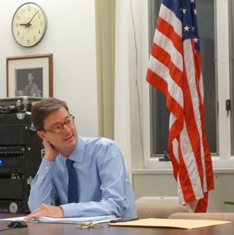 Clay Cope as the selectmen's meeting winds down.