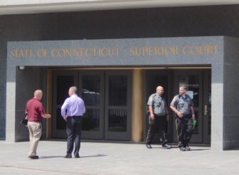 Two judicial marshals outside Superior Court in Hartford Thursday.