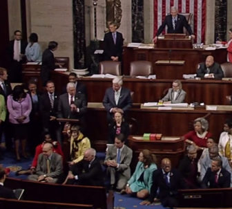 The entire Connecticut delegation on the House floor.