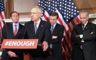 At a press conference after the defeat of proposed gun legislation are, left to right, Sen. Richard Blumenthal, Senate Democratic leader Harry Reid of Nevada, Sen. Chris Murphy and New York's Sen. Chuck Schumer.