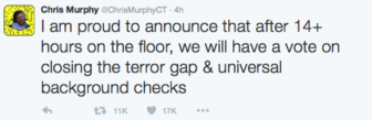 Sen. Murphy's tweet saying there will be a vote on two gun safety measures