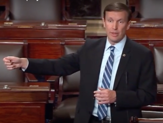 U.S. Sen. Chris Murphy filibusters on the Senate floor Wednesday.