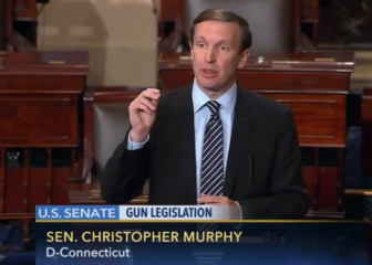 Sen. Chris Murphy speaks on legislation to expand background checks for gun purchasers.